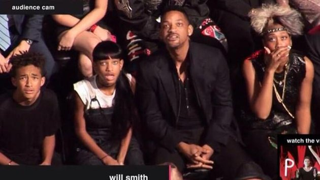 Will Smith and his family looked shocked by the antics of Miley Cyrus