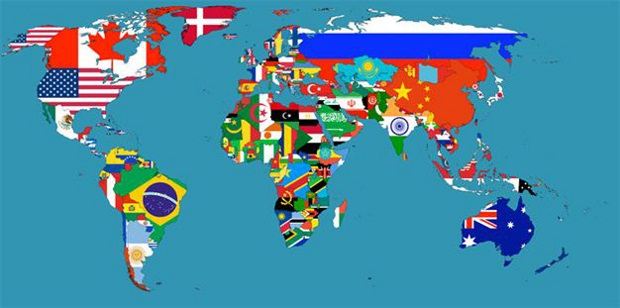 Flags Map of the World Cyber Gazing
