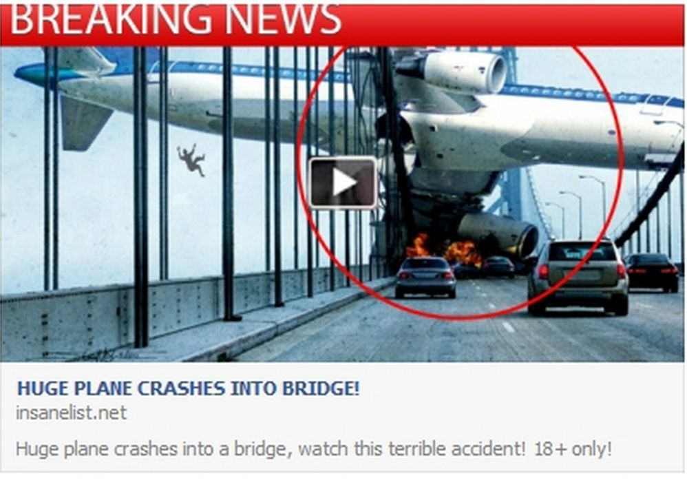 Huge Plane Crashes Into Bridge\' Facebook Scam – Cyber Gazing