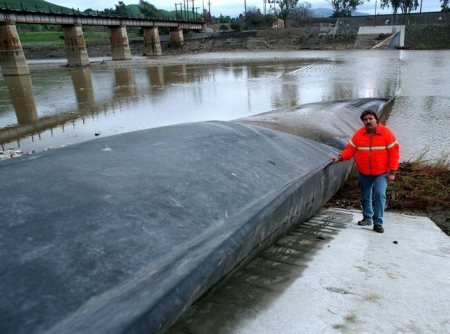 Inflatable dam after vandalism
